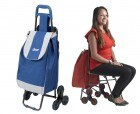 Deluxe Rolling Shopping Bag Cart with Seat | Drive Medical