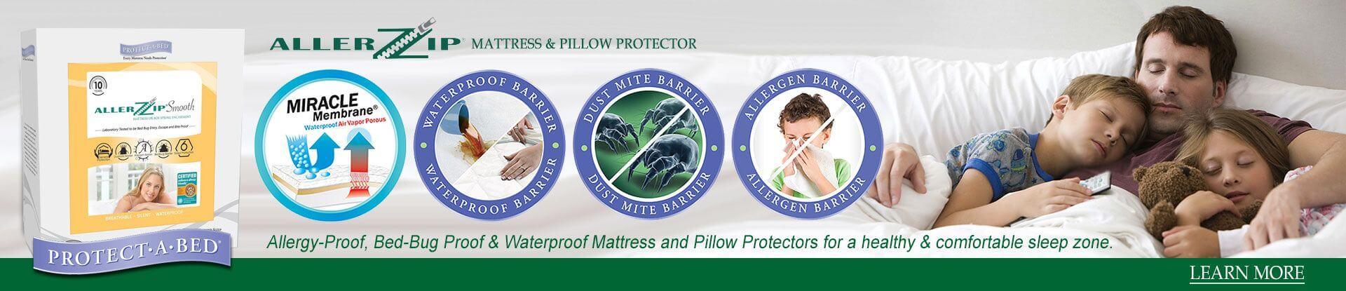 AllerZip Smooth Mattress Protector, Anti-Allergy & Bed Bug