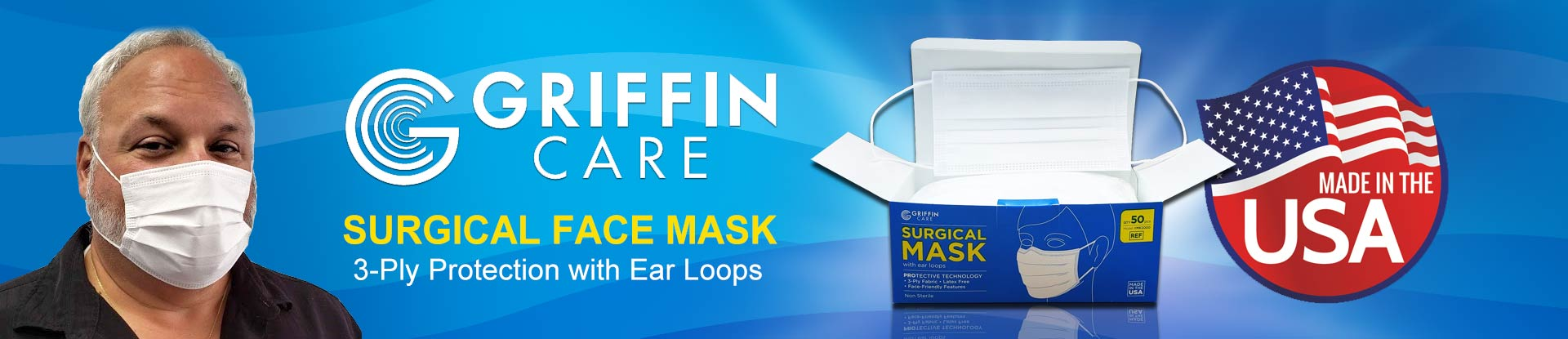 Griffin Care Surgical Face Mask with Earloops - Made in USA