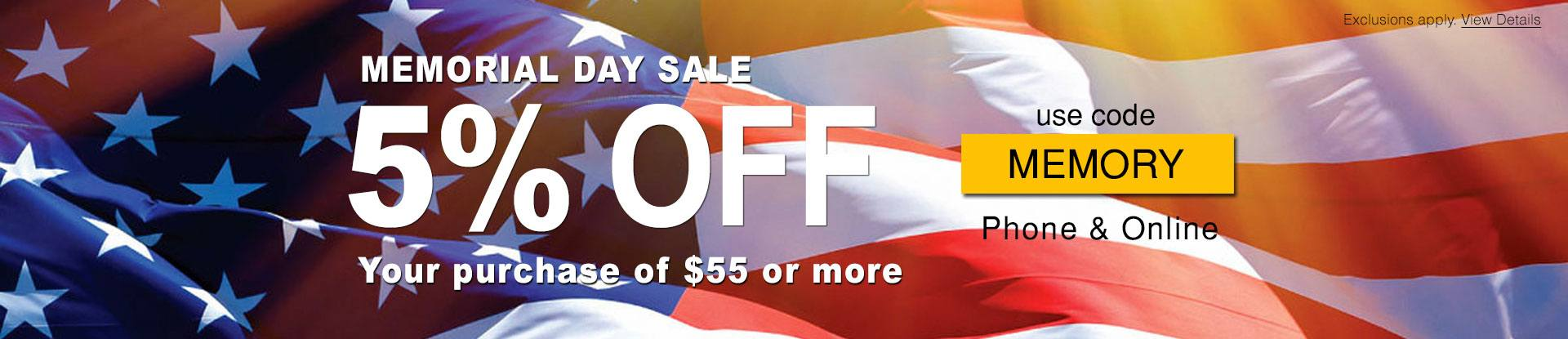 Memorial Day Sale, 5% off orders $55+ with code MEMORY. Ends 5/20