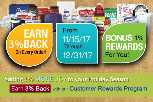 Earn 3% Back on Orders - Bonus 1%